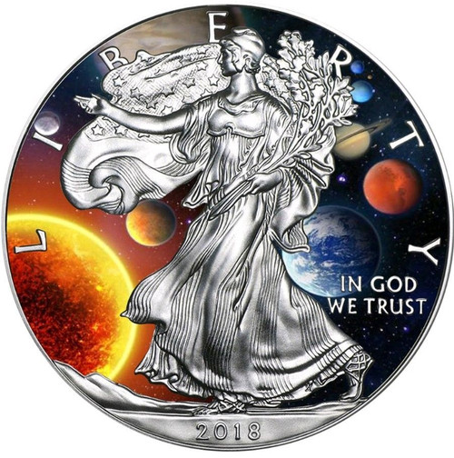 SOLAR SYSTEM EAGLE Liberty 1 Oz Silver Coin 2018