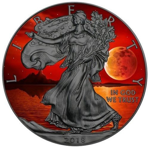 US BLOOD MOON EAGLE - Ruthenium Liberty 1 Oz Silver Coin 2018