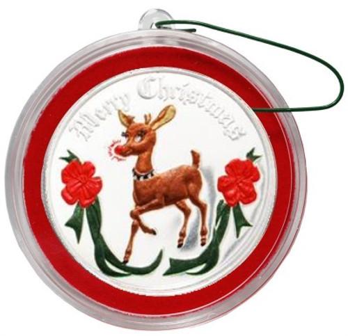 2018 RUDOLPH Color 1 oz Fine Silver Christmas Round