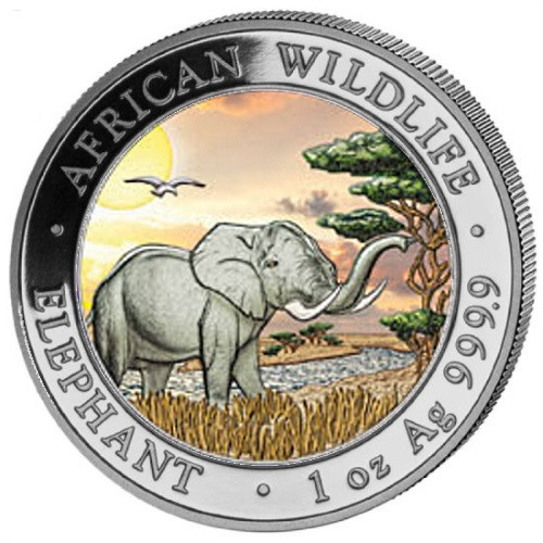 2019 ELEPHANT 1 Oz Silver Color Coin Somalia