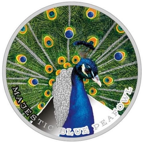 MAJESTIC BLUE PEAFOWL Peacock W/ Swarowski  1 oz Silver Coin 2$ Niue 2019
