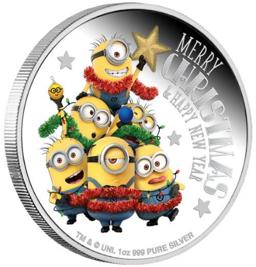 MINION MADE Season Greetings 1 Oz Silver Coin 2$ Niue 2018
