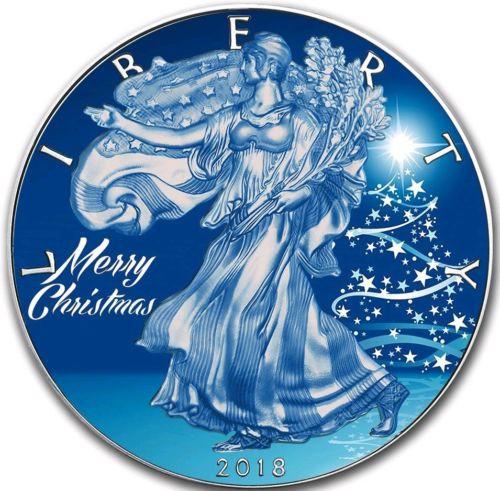 BLUE CHRISTMAS EAGLE Liberty 1 Oz Silver Coin 2018