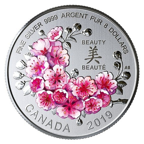 BRILLIANT CHERRY BLOSSOMS $8 Fine Silver Coin - Canada 2019