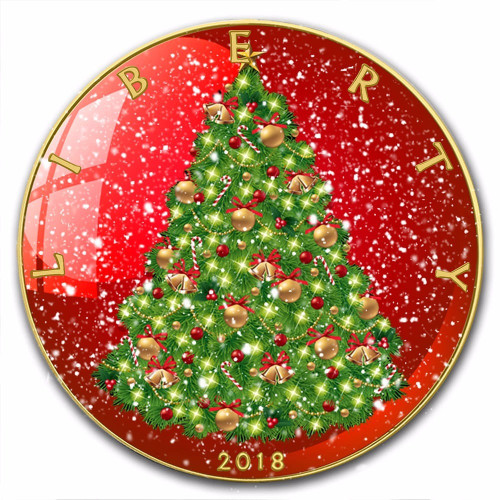 CHRISTMAS TREE  Liberty  1 oz Silver 24K Gold Plated Coin 2018