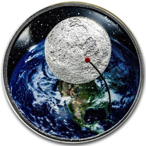 50th Ann. of the Moon Landing 1 Oz Silver - Proof - DOME SHAPED Coin 2018
