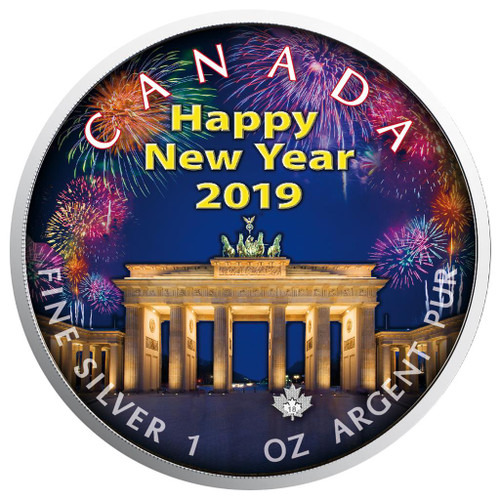 Berlin New Year - Maple Leaf 1 oz Pure Silver Coin - Canada 2019