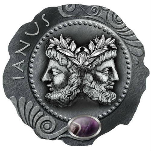 JANUS Amethyst Silver Coin 500 Francs Cameroon 2019