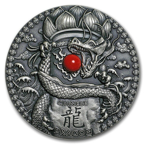 DRAGONS - Chinese Dragon 2 Oz Silver Coin 2$ Niue 2018