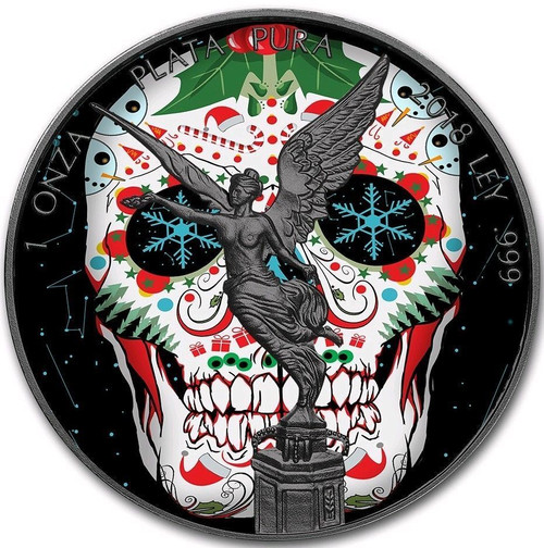 Skull LIBERTAD Ruthenium 1 oz Silver Coin MEXICO 2018