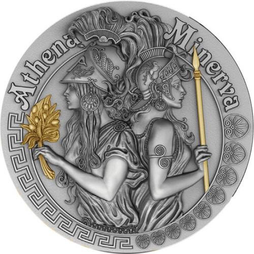 ATHENA AND MINERVA Strong Goddesses 2 Oz Silver Coin 5$ Niue 2019