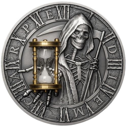CARPE DIEM Grim Reaper Hourglass 2 Oz Silver Coin 5$ Niue 2018