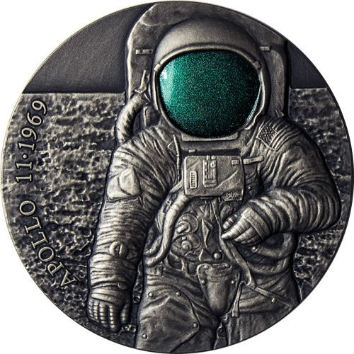 APOLLO 11 MOON 50th Anniversary UFO 3 Oz Silver Coin 3000 Francs Cameroon 2019