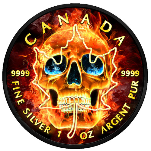 BURNING SKULL 1 Oz Silver Coin 5$ Canada 2018 Ruthenium & 24K Gold