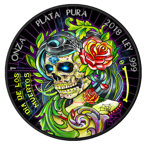 DIA DE LOS MUERTOS 2 Day of the Dead Libertad 1 Oz Silver Coin Mexico 2018