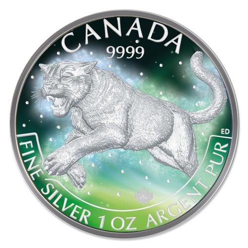 FROZEN PUMA AURORA RHODIUM 1 Oz Silver Coin 5$ Canada 2016