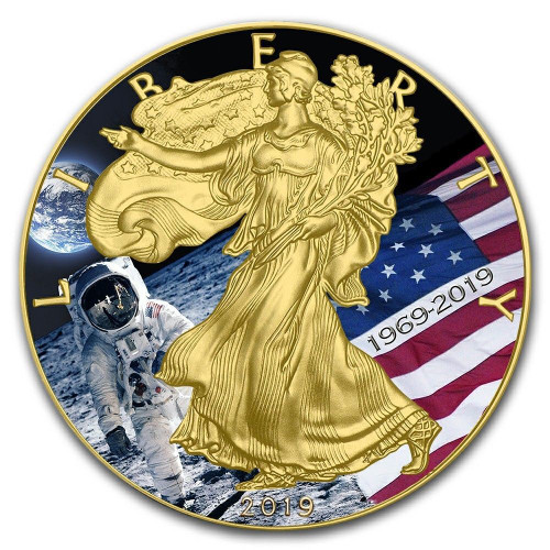 2019 MOON LANDING APOLLO 11 1 oz Silver 24K Gold Plated Coin USA