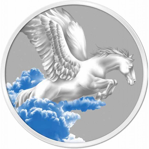 SPAWNS PEGASUS 1 oz Color Silver Coin $5 Tokelau 2014