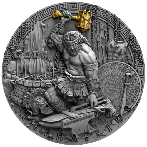 HEPHAESTUS God of blacksmiths Gods 2 Oz Silver Coin 2$ Niue 2019