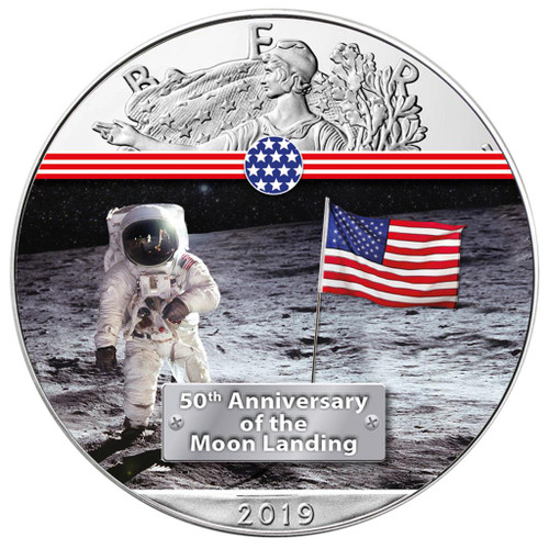 FIRST MAN ON THE MOON - MOON LANDING 1 oz Silver Eagle Coin 2019 USA