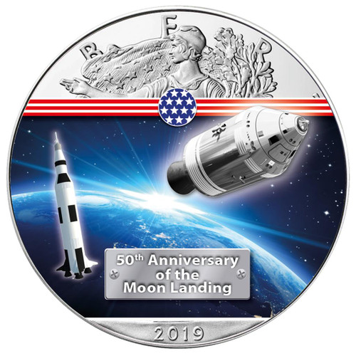 APOLLO 11 50th. ANN. MOON LANDING 1 oz Silver Eagle Coin 2019 USA