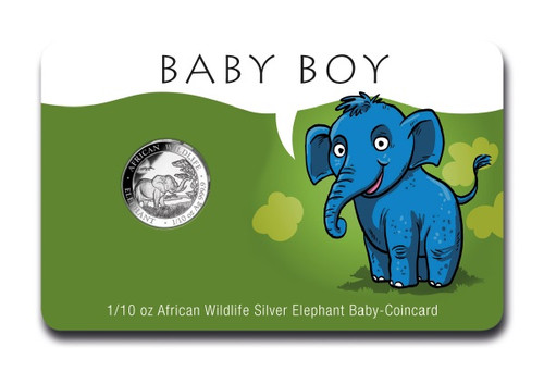 Baby BOY Coin Card 1/10 oz Silver Elephant 2019 Somalia