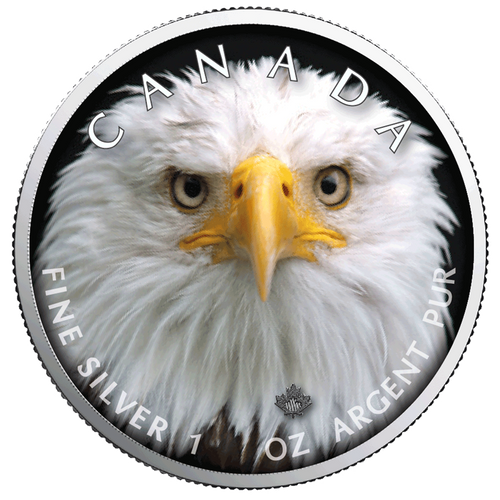 BALD EAGLE Canada's Wildlife MAPLE LEAF 1 Oz Silver Coin 5$ 2019