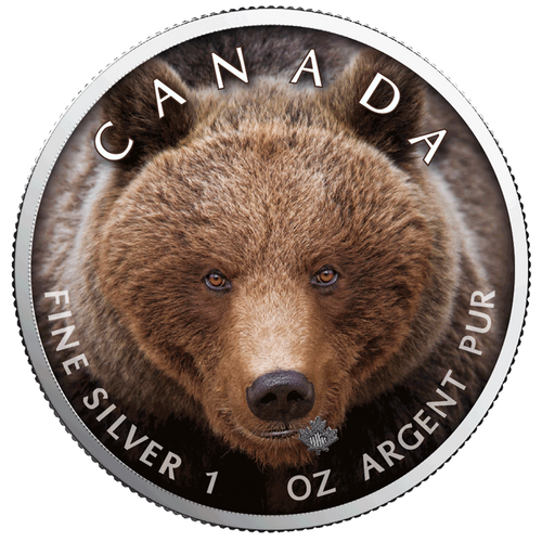 GRIZZLY BEAR Canada's Wildlife MAPLE LEAF 1 Oz Silver Coin 2019