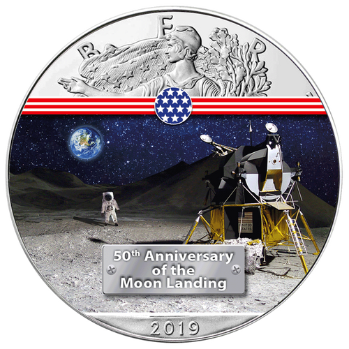 LUNAR MODULE - 50th. ANN. MOON LANDING 1 oz Silver Eagle Coin 2019 USA