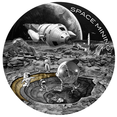 SPACE MINING II Station 1 Oz Silver Coin 1$ Niue 2019