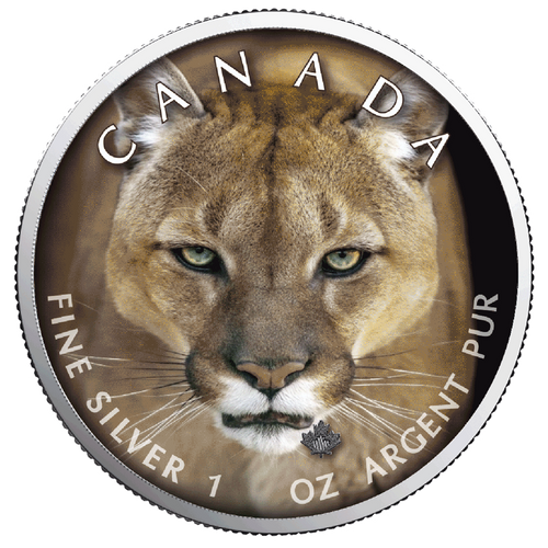 COUGAR MAPLE LEAF Canada's Wildlife - 1 Oz .9999 Silver Coin 5$ 2019
