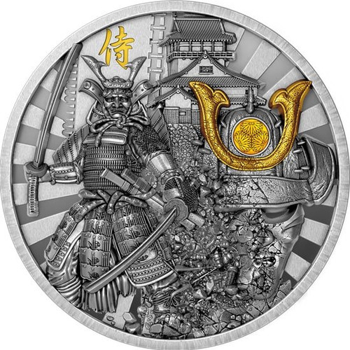 SAMURAI Warriors 2 Oz Ultra High relief Silver Coin 5$ Niue 2019