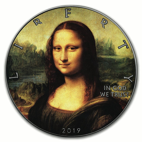 MONA LISA Leonardo Da Vinci 500th Ann. of Death 1 oz Silver Eagle Coin 2019
