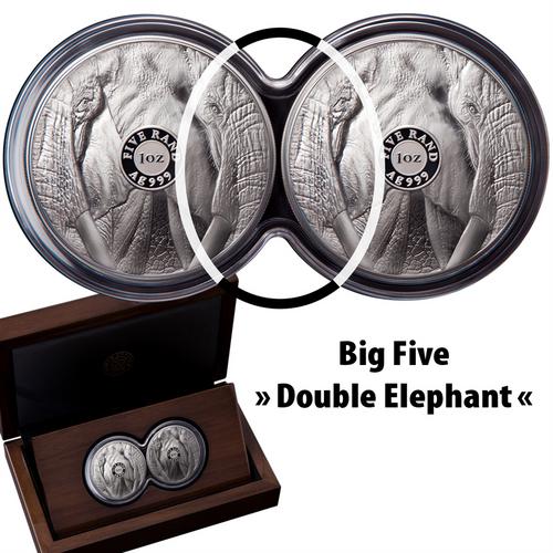 BIG FIVE - ELEPHANT - SET DOUBLE CAPSULE 1 Oz Proof Silver - South Africa 2019