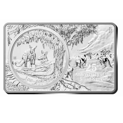 3 oz 25th Ann. KANGAROO Privy Silver Bar &Coin Set 2$ Australia 2018