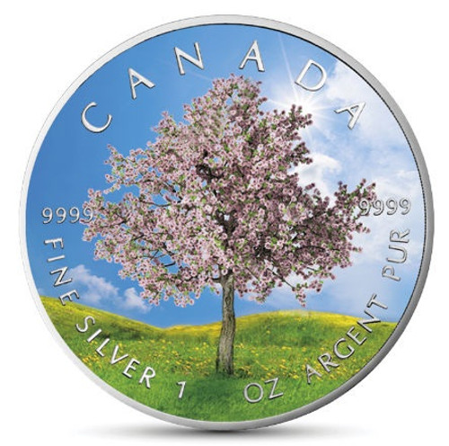"SPRING ""Four Seasons"" Maple Leaf Series 1 Oz Silver Coin Canada 2019"