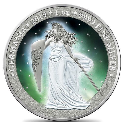 Frozen GERMANIA Aurora Rhodium 5 Mark 1 Oz .9999 Silver Round