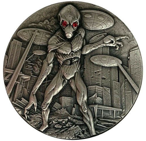 ALIEN INVASION w/Swarovski crystals 2 oz Silver Coin 10,000 Francs CFA Chad 2018