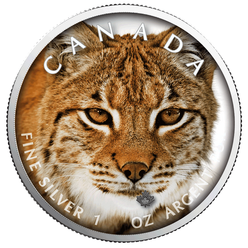LYNX MAPLE LEAF Canada's Wildlife - 1 Oz .9999 Silver Coin 5$ 2019