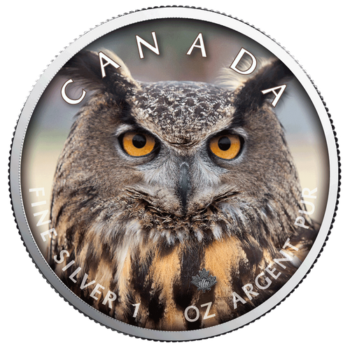 OWL MAPLE LEAF Canada's Wildlife - 1 Oz .9999 Silver Coin 5$ 2019