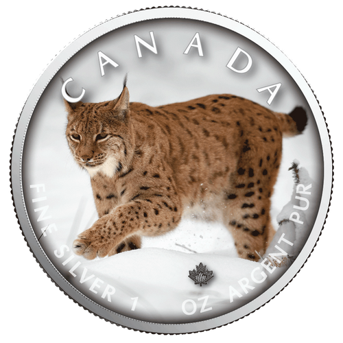 LYNX Trails of Wildlife MAPLE LEAF 1 Oz .9999 Silver Coin 2019