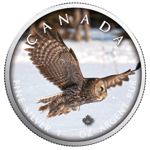 OWL Trails of Wildlife MAPLE LEAF 1 Oz .9999 Silver Coin 2019