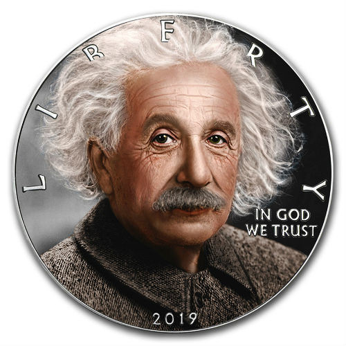 EINSTEIN Albert Walking Liberty 1 Oz Silver Coin 1$ 2019
