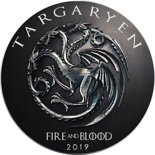 TARGARYEN Fire Coming Game of Thrones GOT Walking Liberty 1 Oz Silver Coin 2019