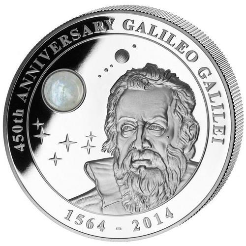 GALILEO GALILEI 450 Ann.Moonstone 2 Oz Silver 10$ Cook Island 2014