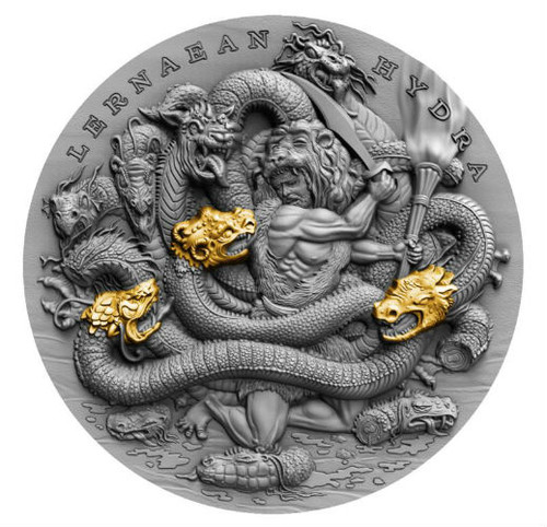 LERNAEAN HYDRA - TWELVE LABOURS OF HERCULES 2 Oz Silver High Relief Coin 5$ Niue 2019