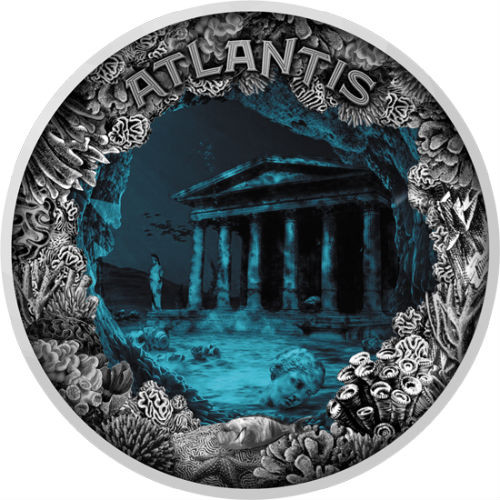 ATLANTIS – THE SUNKEN CITY with Aqua Epoxy 2 Oz Convex Silver Coin Niue 2019