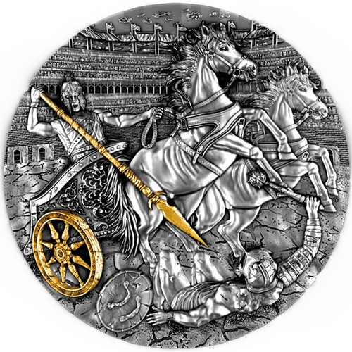 CHARIOT High Relief with Gilding 2 Oz Silver Coin Niue 2019
