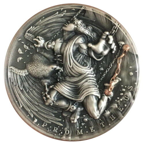 PROMETHEUS Ancient Myths III 2 oz Antique Finish Silver Coin Niue 5$ 2019