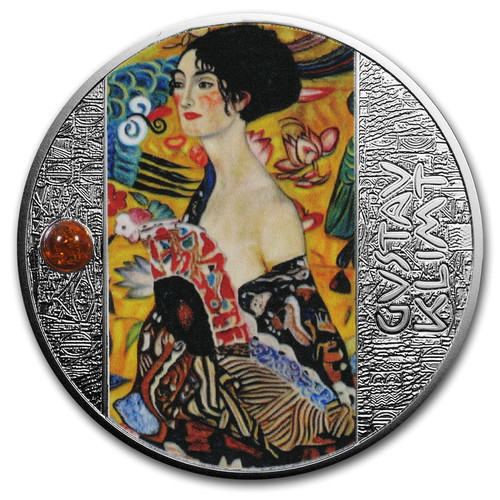 LADY WITH A FAN Gustav Klimt Golden Five Silver Coin 1$ Niue 2019